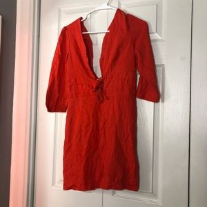 NWOT Free People Double-Tie Sleeved Mini Dress